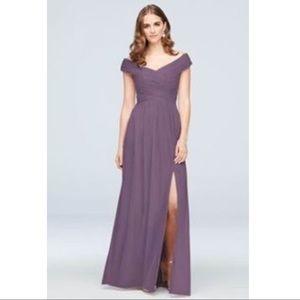 Crisscross Off-Shoulder Bridesmaid Dress